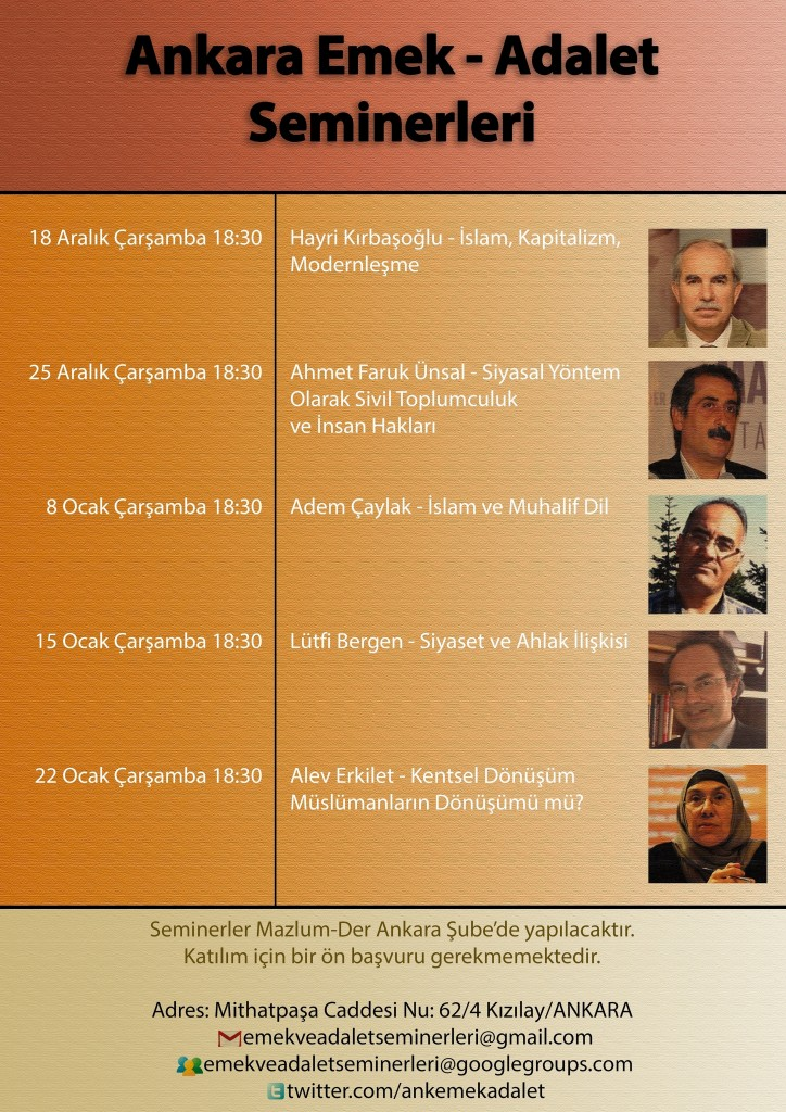 Emek Adalet Ankara Seminerler Afiş